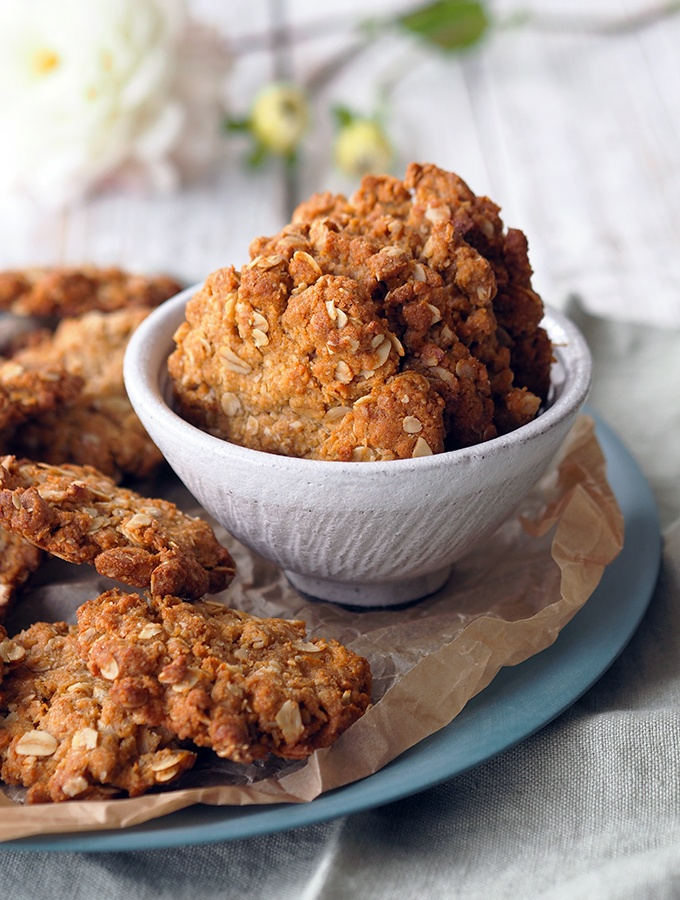 close up image of Anzac biscuits in a bowl