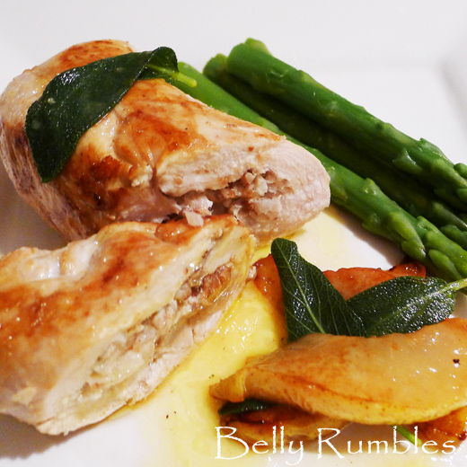 Pear & Pecan filled Chicken Parcels with Butter Sage Sauce