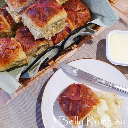 Hot Cross Bun Recipe – A twist on Tradition, Cheesy Prosciutto Cross Buns