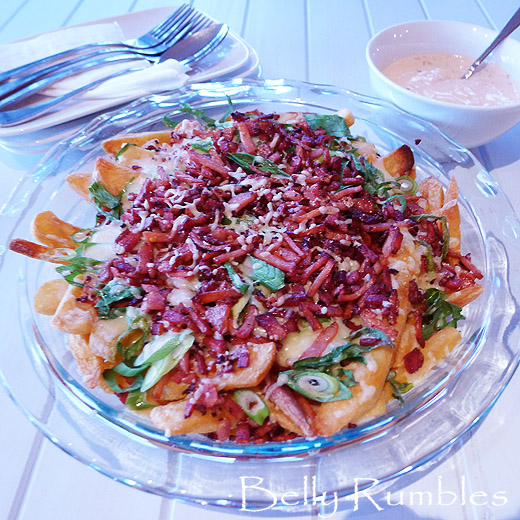 Cheesy Bacon Chips with Chipotle Dipping Sauce