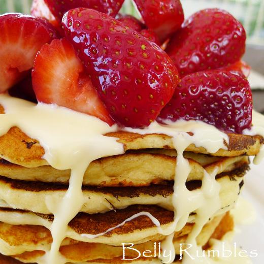 Ricotta Pancakes, Sparkling Strawberries & Lemon Cream Recipe + Wolf ...