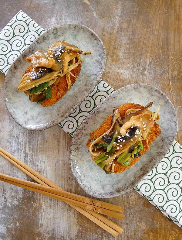 panko crumbe tofu & mushrooms