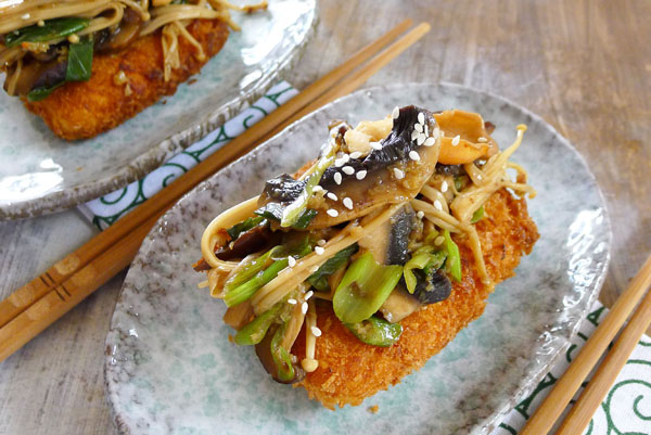 My recipe for the new Oxfam Vegetarian Cookbook, Panko Crumbed Tofu & Mushies