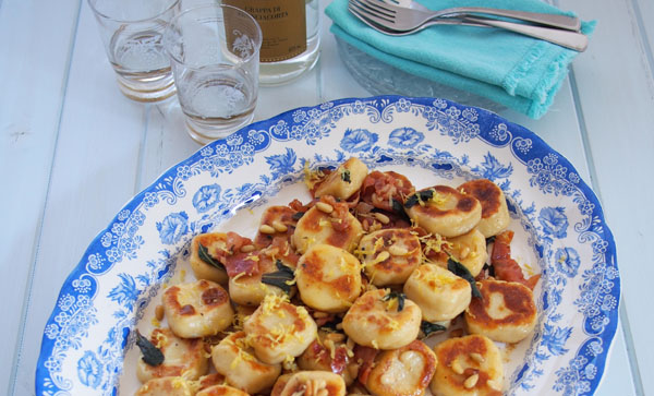 Pan Fried Potato Gnocchi with Pine Nuts, Prosciutto & Sage
