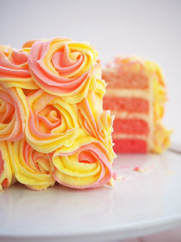 pink lemonade ombre cake