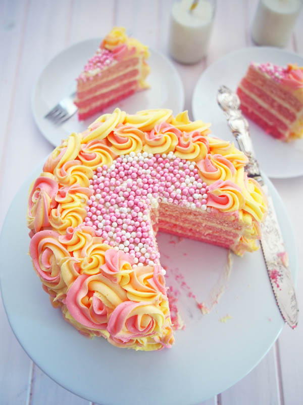 Pink Lemonade Ombre Cake Recipe