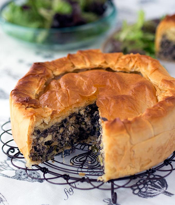 Greek Style Mushroom Filo Pie | www.bellyrumbles.com