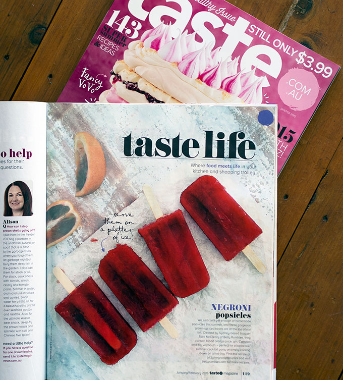 Sara McCleary Taste Magazine Feature  - Negroni Popsicles | www.bellyrumbles.com