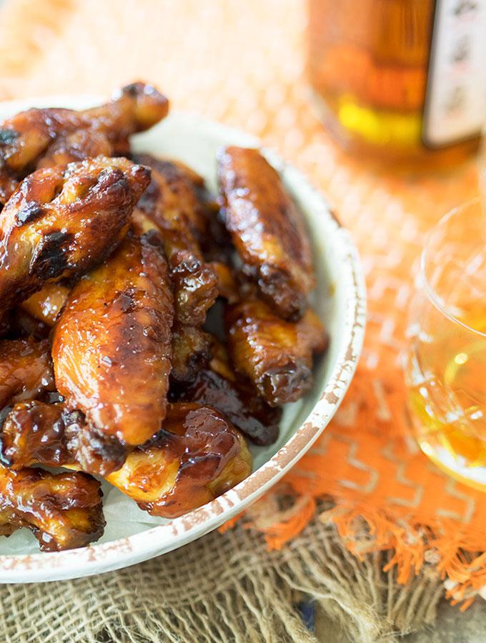 Baked Bourbon Maple Chicken Wings