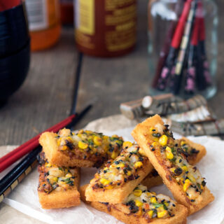 Prawn Toast with Corn & Black Sesame Seeds