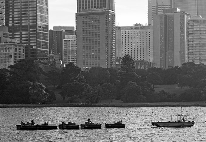 The fireworks being towed out to position for the performance