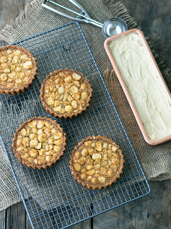 Macadamia Nut Tarts with Golden Syrup Ice Cream   www.bellyrumbles.com