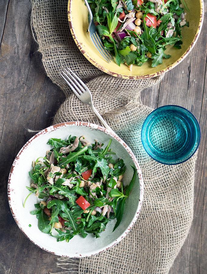 Healthy Shredded Pork, Chickpea & Herb Salad   www.bellyrumbles.com
