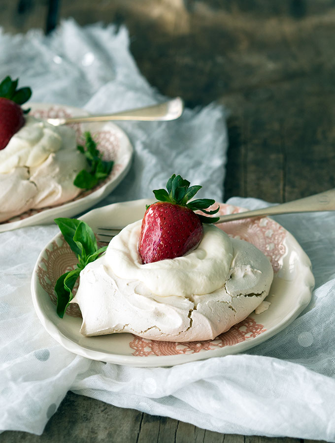 Basil Meringue with Rose Cream and Toffee Strawberries
