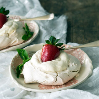 Basil Meringue, Rose Cream & Toffee Strawberries
