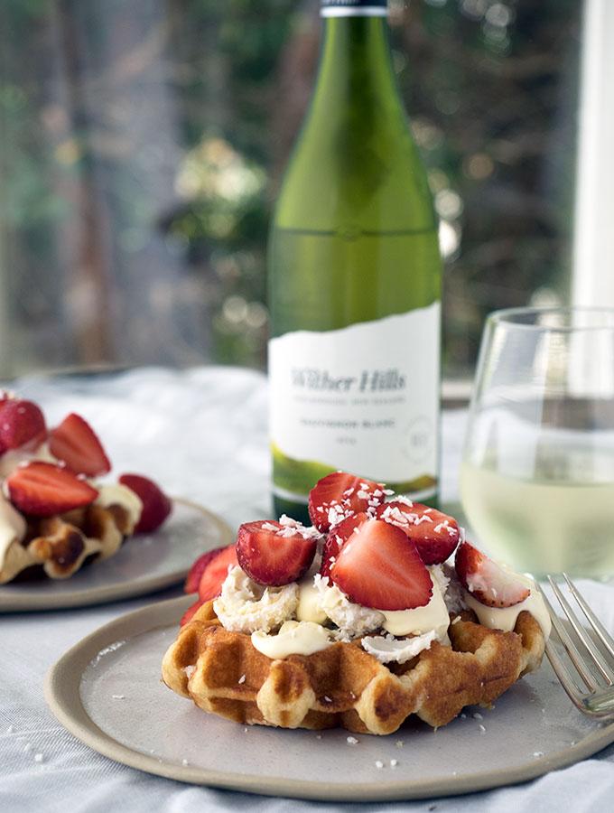 Strawberries and Cream Waffles