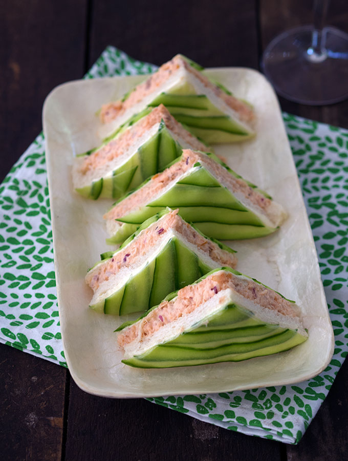 Chic Salmon and Cucumber Sandwiches, Perfect for High Tea