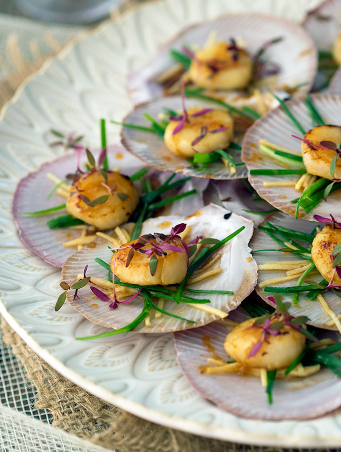 Sake Glazed Scallops, easy Japanese Canape