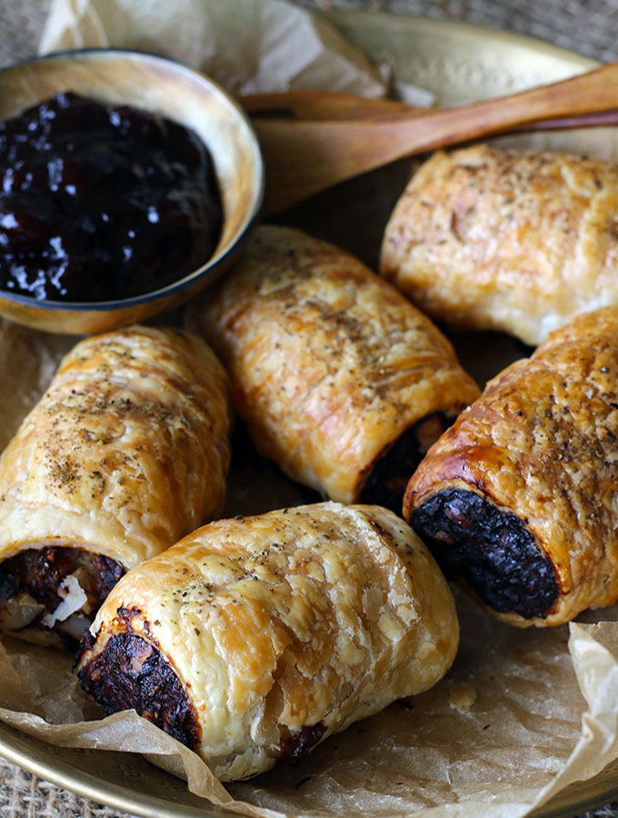Aussie Sausage Rolls made with macadamia nuts and Australian native herbs