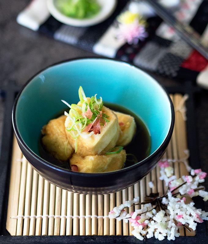 Agedashi Dofu or Japanese Deep Fried Tofu in a light bonito broth