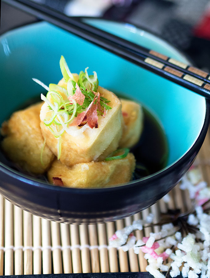 Agedashi Dofu or Japanese Deep Fried Tofu in a light bonito broth
