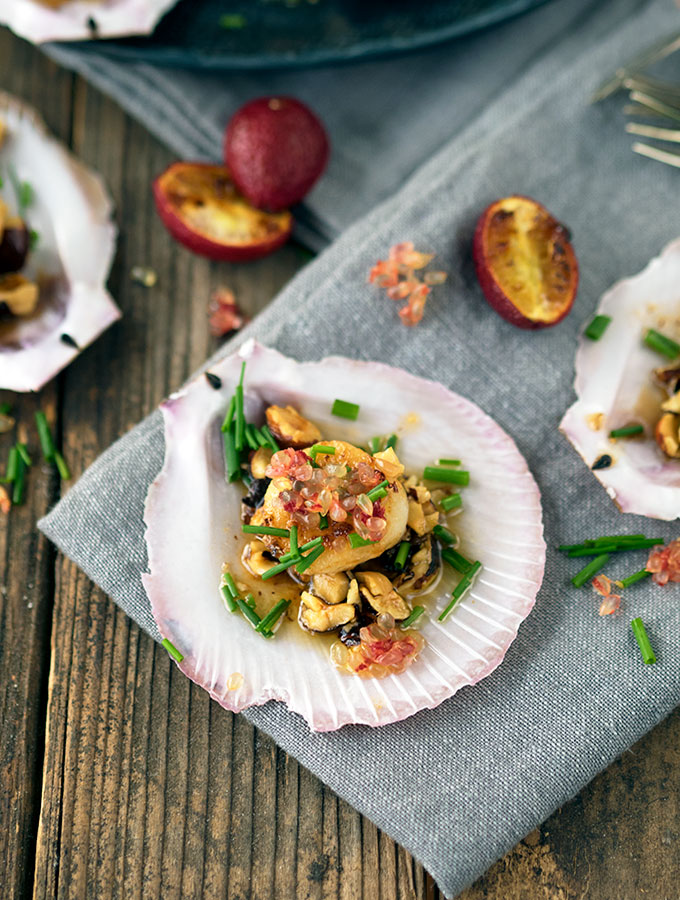 Seared Sea Scallops with blood limes and hazelnut brown butter