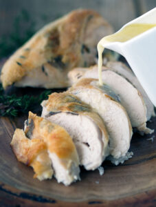 Black Truffle Chicken Breast baked in Milk is a simple and easy version of poulet en demi deuil (chicken in half mourning). Super tender and juicy chicken with a simple but flavour packed sauce.