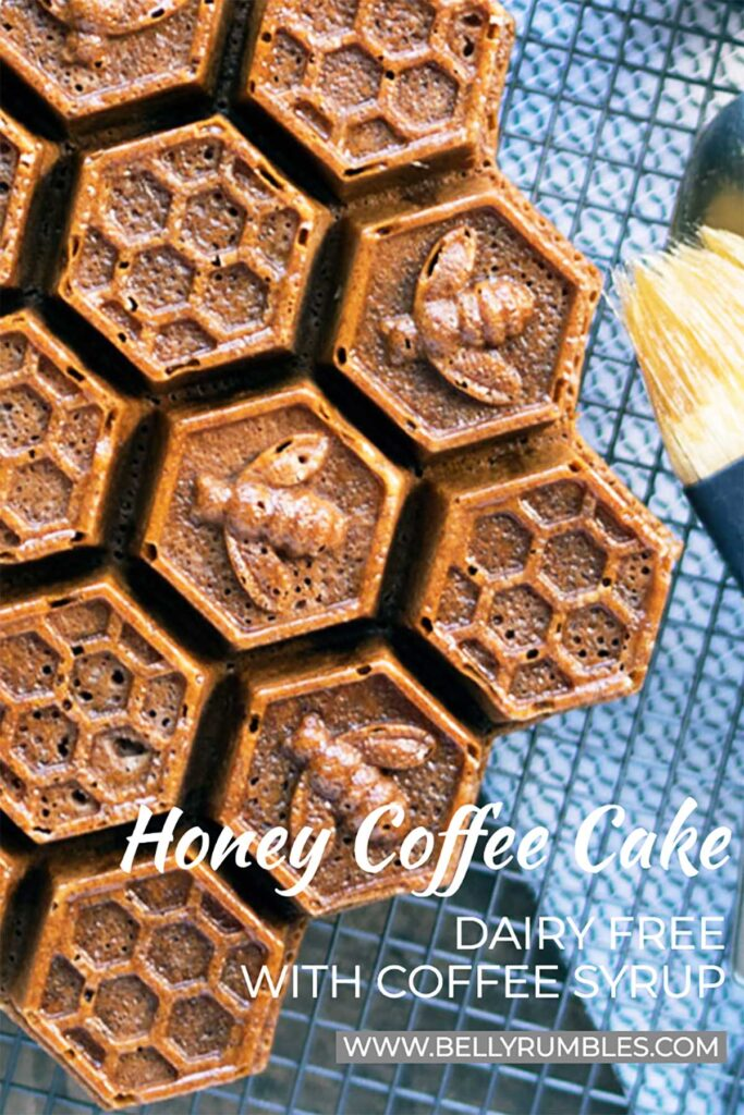 honey coffee cake with a honeycomb pattern on a cooling rack