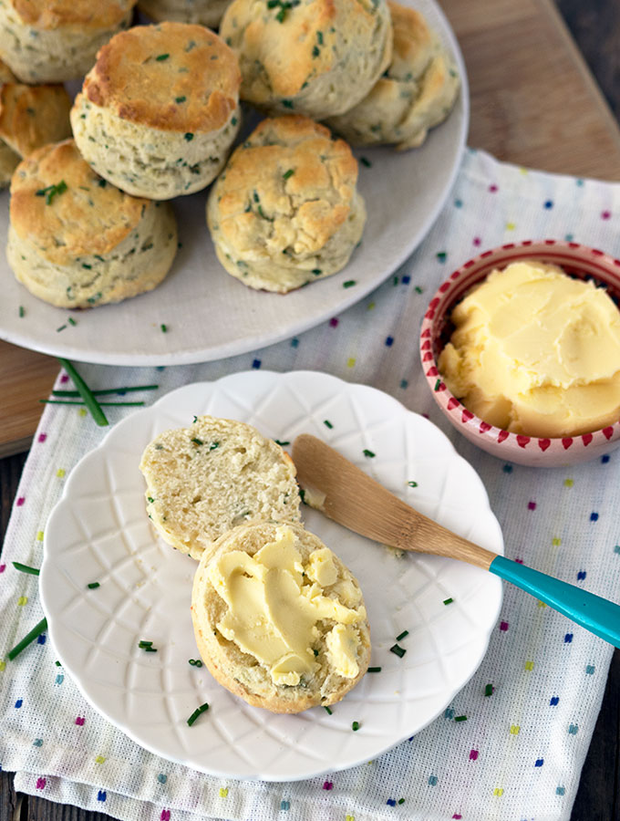 buttermilk chive scones, plus how to make butter at home