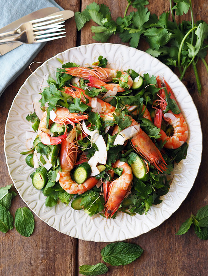 Easy Prawn, Coconut and Coriander Salad with zesty lime. Dinner will be on the table in no time.