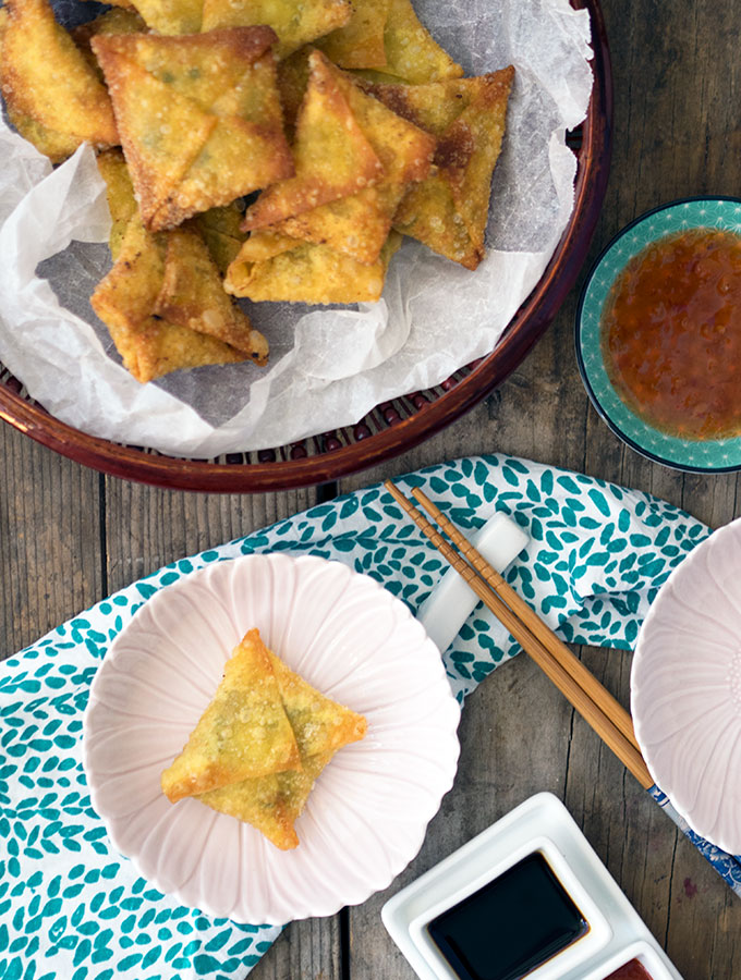 Fried Prawn Dumplings Recipe with water chestnuts and ginger. No fancy pants folding involved, I keep it simple with and envelope technique. These dumplings will be eaten so quickly nobody will have time to critique your folding.