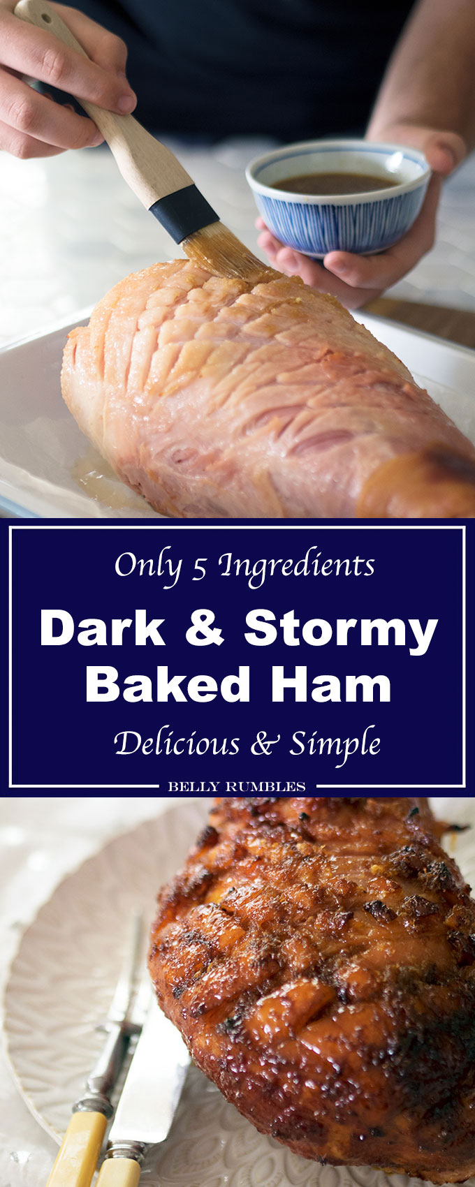 This dark and stormy baked ham is stickily delicious. The spiced rum, ginger, lime and sugar transport you to the Caribbean.
