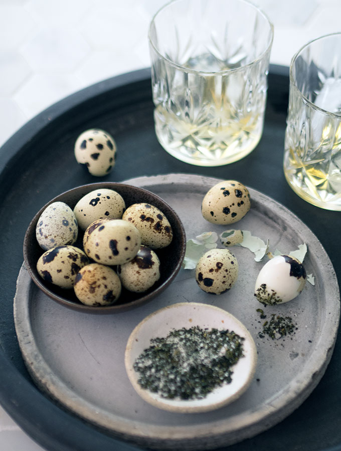 Quail Eggs with Oolong Tea Salt. A quick, easy and impressive dish to make for entertaining your guests. They will be impressed.