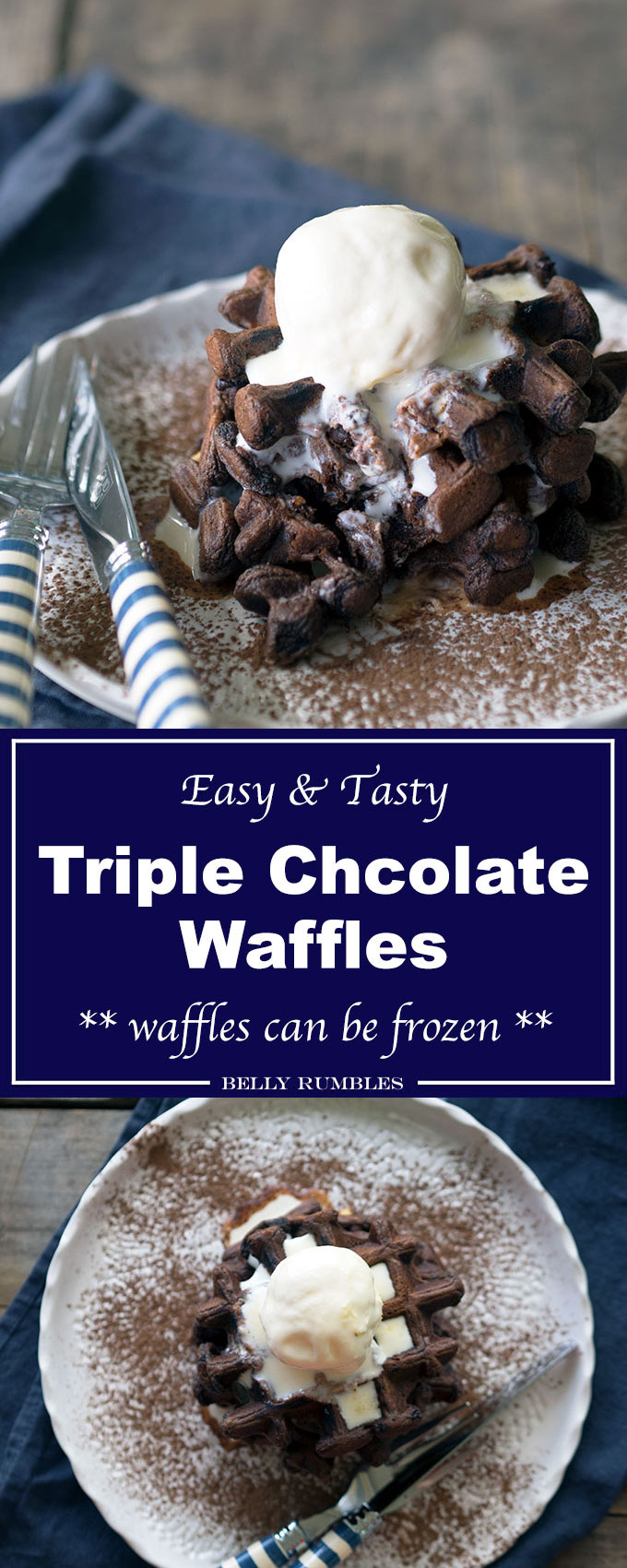 The best triple chocolate waffles recipe you will ever make! Packed with white, milk and dark chocolate, these are great buttermilk waffles for breakfast.