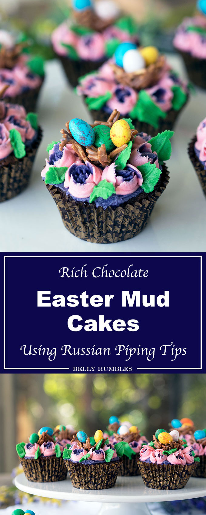 Chocolate Mud Cupcakes decorated for Easter. Pretty flowers with chocolate bird's nests filled with mini speckled eggs. Decorated using Russian piping tips.