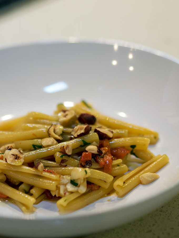 casarecce recipe by Matteo Zamboni, casarecce with Western Australian Yabbies, capsicum and hazelnuts