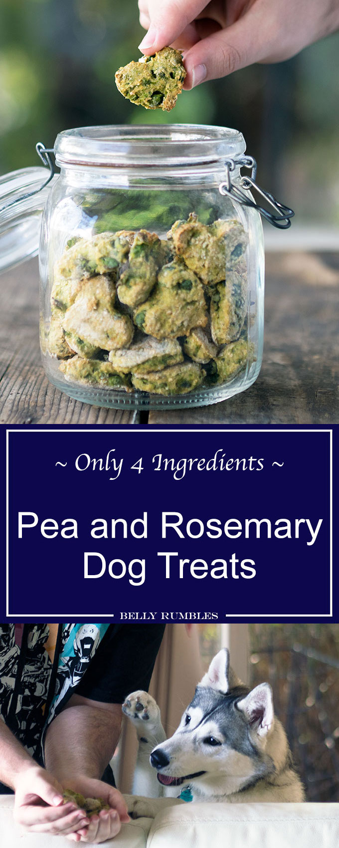 These pea and rosemary dog treats with have your favourite puppy doing back flips. Only 4 ingredients and easy peasy to make.