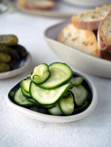 Easy Quick Zucchini Pickles to serve with Pork, Duck and Fig Terrine
