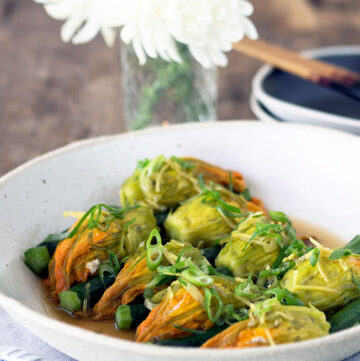 Chinese style steamed stuffed zucchini flowers