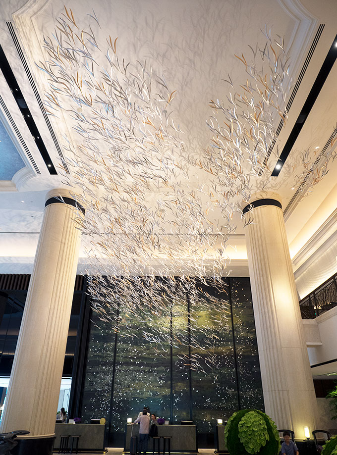 Tree Canopy ceiling art installation at Shangri-la Singapore by Studio Sawada