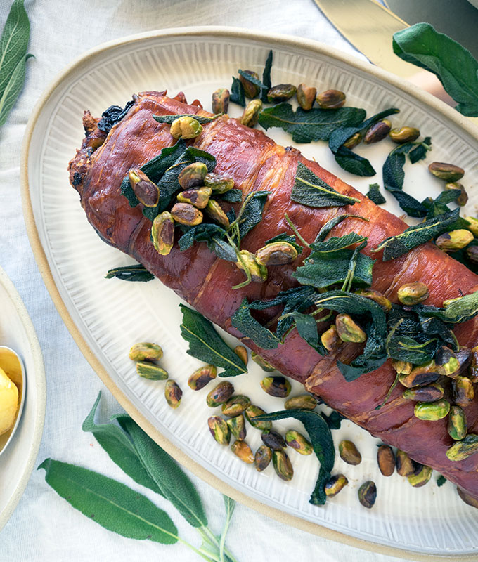 Turkey Roulade stuffed with apple, cranberries and sage, wrapped in prosciutto