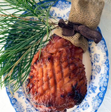 Peach and Bourbon Glazed Baked Ham makes the perfect centrepiece for your Christmas table.
