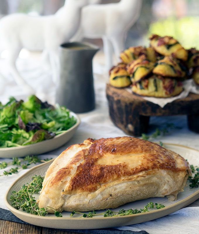 Poached Turkey Breast with Easy Gravy is the perfect recipe for Christmas entertaining. Especially if you are short on time and oven space, the turkey will be on the table in 50 minutes. Poaching aids keeping the breast succulent and tender.