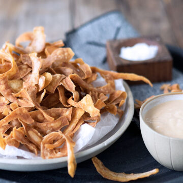 Potato Skin Chips - A great way to use potato peel that would normally be waste. Super crunchy and tasty.