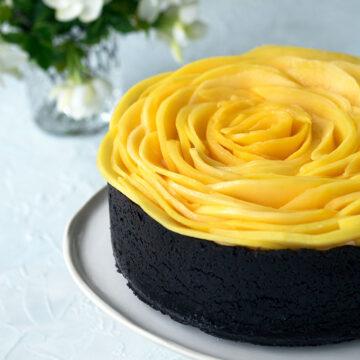 Baked White Chocolate and Mango Cheesecake