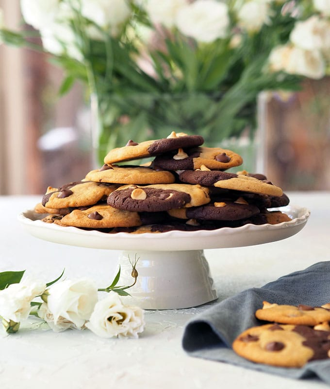Two Tone Chocolate Chip Cookies, this is a delicious big batch cookie recipe with double chocolate cookies