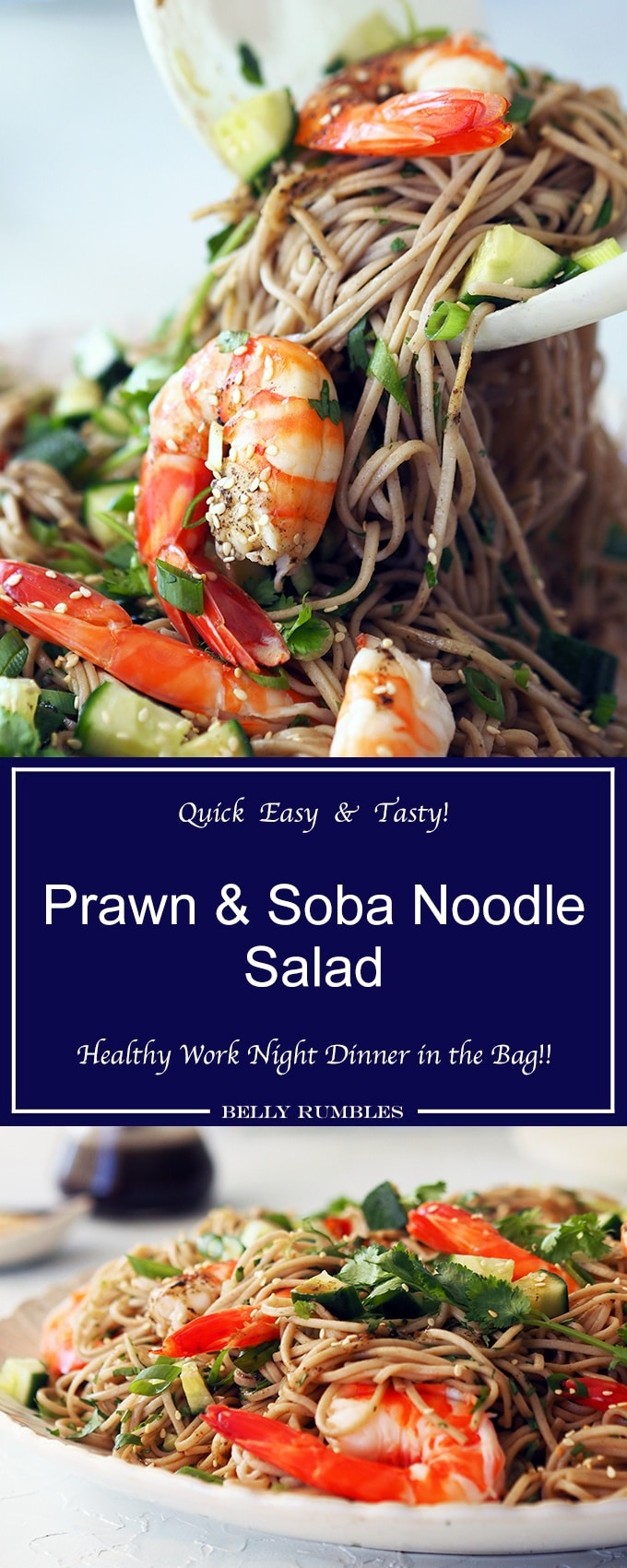 Easy prawn and soba noodle salad, with coriander and shallots. Easy mid week dinner, healthy and low fat too.