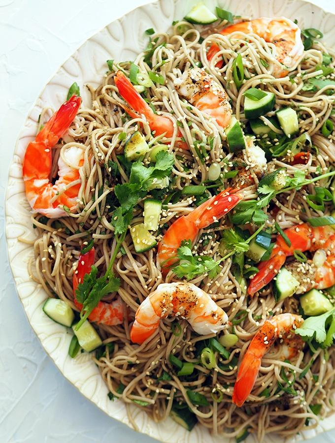 Japanese style prawn noodle salad