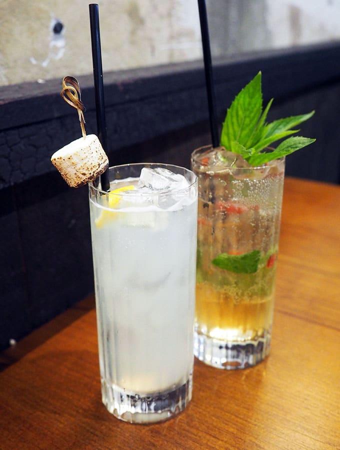 Cocktails at hip grunge restaurant Kid Kyoto