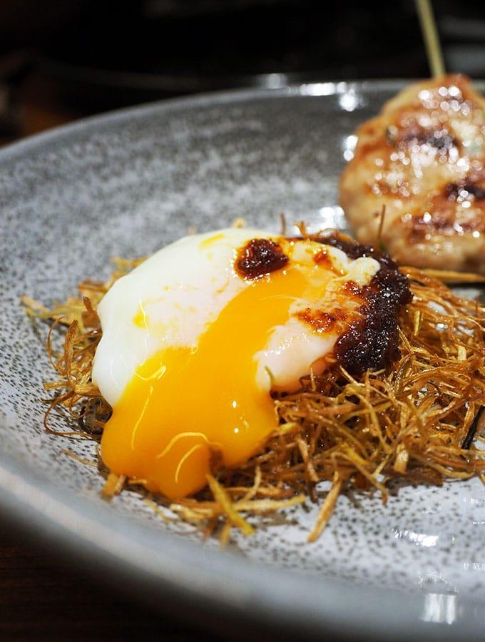 Kid Kyoto Popular Dish: Preserved lemon chicken tsukune, onsen egg 'birds nest' & chilli rayu